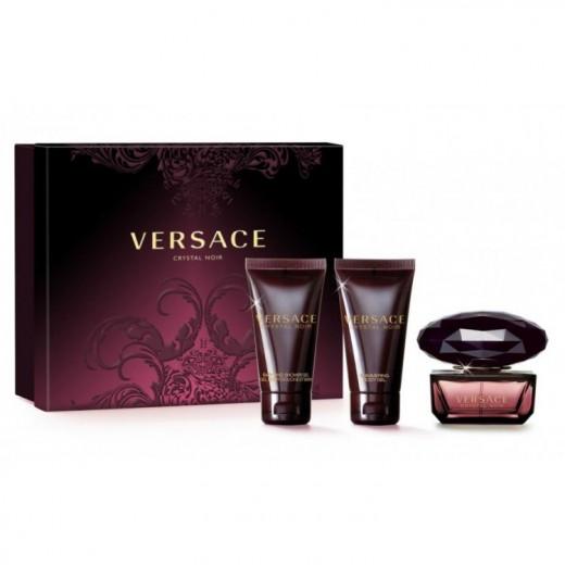 Versace Crystal Noir тоалетна вода за жени подаръчен комплект- 50мл тоалетна вода+50мл мляко за тяло+50мл душ гел