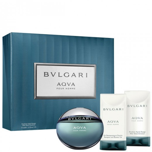 Bvlgari AQVA Pour Homme тоалетна вода за мъже подаръчен комплект- Тоалетна вода 50мл + афтършейв балсам 40мл + душ гел 40мл
