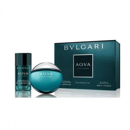 Bvlgari AQVA Pour Homme тоалетна вода за мъже подаръчен комплект-  тоалетна вода 50мл + део-стик 75гр.