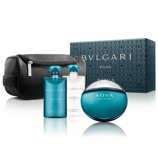 Bvlgari AQVA Pour Homme тоалетна вода за мъже подаръчен комплект тоалетна вода 100 мл + балсам след бръснене 75 мл + душ гел 75 мл + козметична чанта